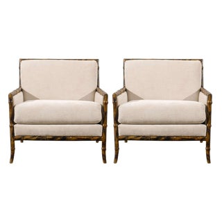 Superb Pair of Gibbings Style Faux Bamboo Lounge/Club Chairs