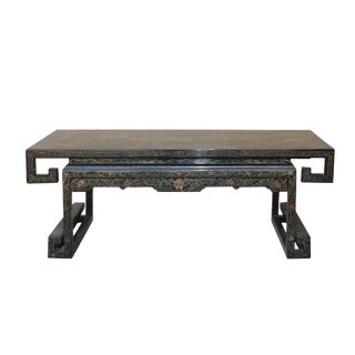 Chinese Black Gloss Lacquered Song Ming Style Low Kang Table Stand For Sale