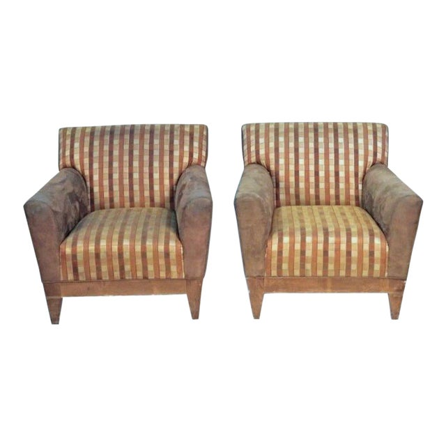 Modern Suede Upholstered Lounge Chairs - A Pair For Sale