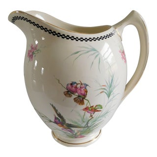 Scenic Cream Antique Water Pitcher With Birds and Flowers For Sale