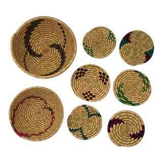 Colorful Woven Straw Baskets - Set of 8