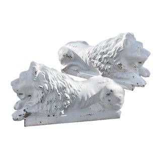 1880s American Cast Iron Lion Statues- A Pair For Sale