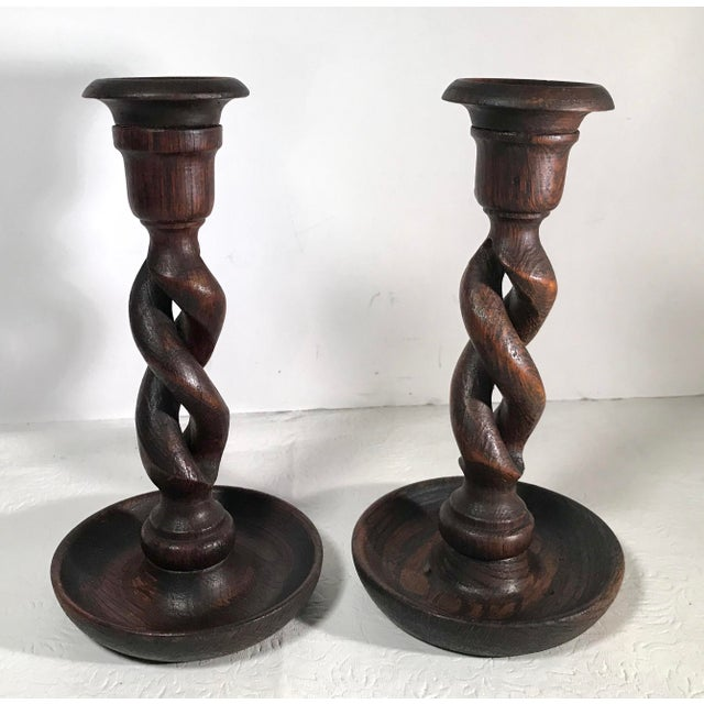 Wood Vintage Barley Twist Open Weave English Candlesticks - a Pair For Sale - Image 7 of 7