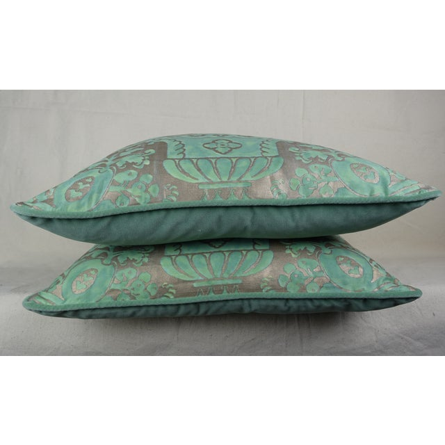 Rococo Peacock & Silvery Gold Fortuny Pillows, Pair For Sale - Image 3 of 5