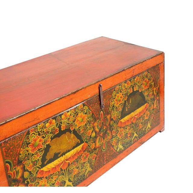Antique Tibetan Elm Wood Graphic Storage Trunk - Image 7 of 7