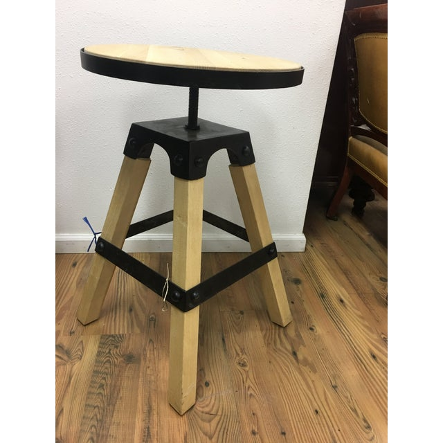 Noir Solid Wood & Black Steel Swivel Stool For Sale - Image 9 of 13