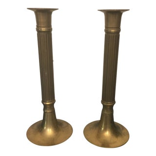 Brass Pillar Candle Holders - a Pair For Sale