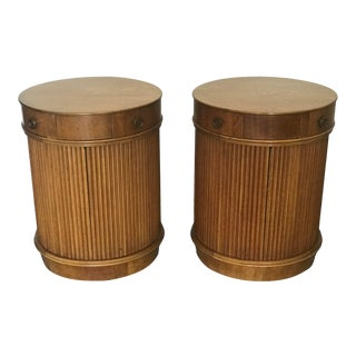 Edward Wormley for Dunbar Tambour Door End Tables or Nightstands - a Pair For Sale