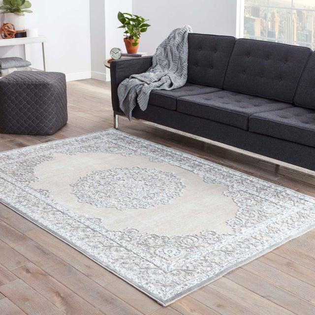"""2010s Contemporary Jaipur Living Malo Medallion Gray & White Area Rug - 7'6"""" X 9'6"""" For Sale - Image 5 of 6"""
