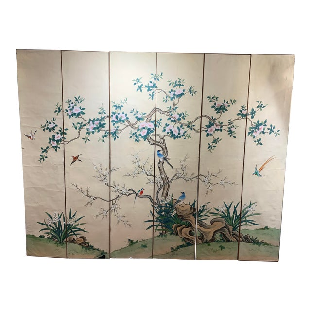 French Hand Painted 6 Panel Screen For Sale