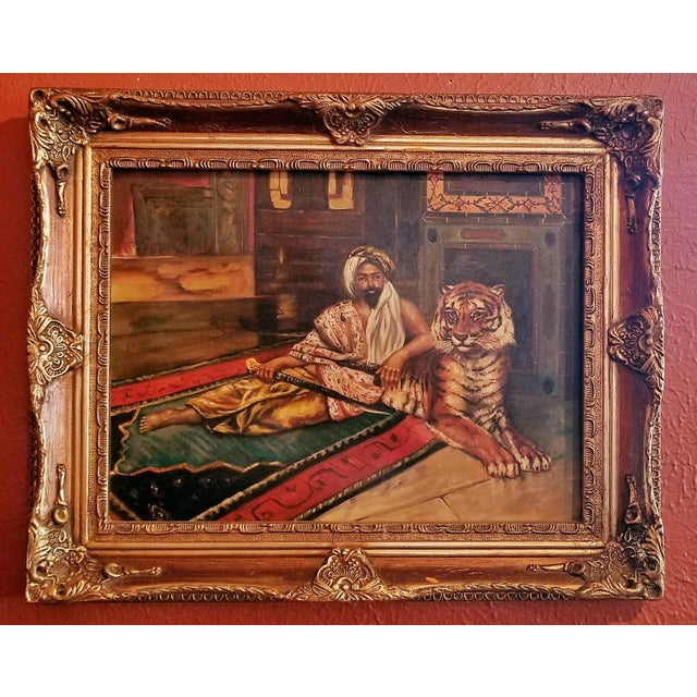 19c Oil on Canvas of Raj or Prince with Tiger For Sale - Image 9 of 9
