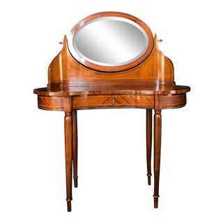 French Inlaid Walnut Dressing Table Vanity For Sale