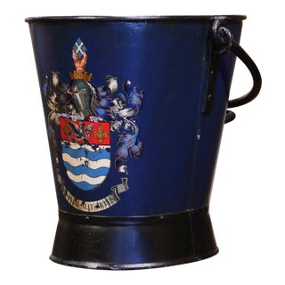 Early 20th Century English Hand Painted Iron Coal Bucket With Coat of Arms Decor For Sale