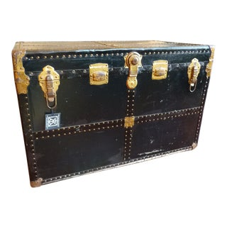 Handsome, Black Vintage Trunk with Brass Nailhead Detail