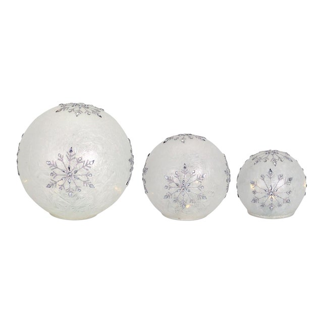 Kenneth Ludwig Frosted Snowflake Led Globes - Set of 3 For Sale