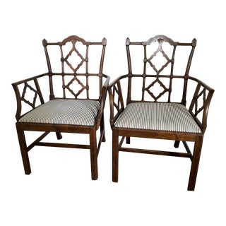 Antique Chinese Chippendale Arm Chairs - a Pair For Sale