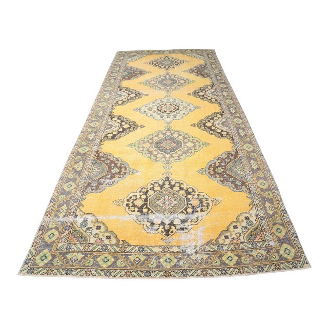 """1960's Wide Vintage Turkish Hand-Knotted Runner Rug - 5' X 12'4"""" For Sale"""