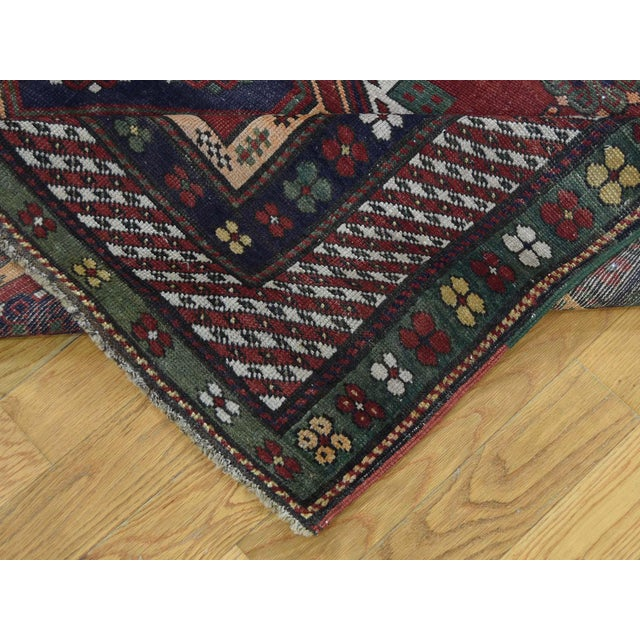 Textile Antique Caucasian Kazak Hand Knotted Rug- 5′9″ × 8′5″ For Sale - Image 7 of 13
