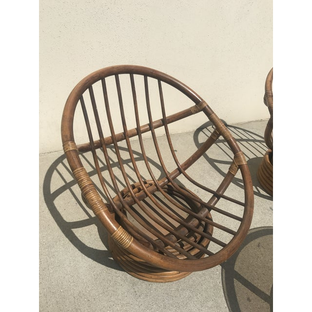 vintage 60s rattan papasan swivel rocking chairs table set of 3