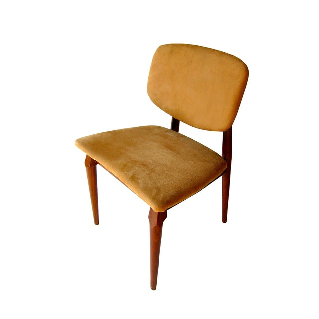 Suede Mid-Century Dining Chairs- Set of 4 - Image 2 of 2
