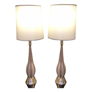 Vintage Blown Glass Monumental Table Lamps - Pair For Sale