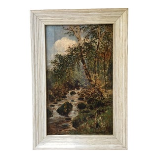 "Vintage ""Stream in the Woods"" Oil Painting For Sale"