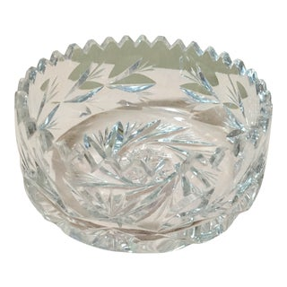20th Century Traditional Saw Tooth Edge Crystal Bowl