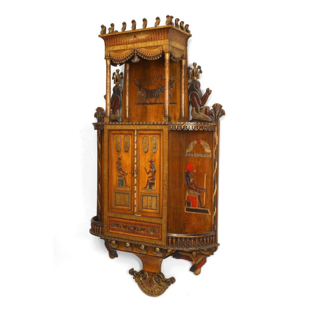 Egyptian Style Painted Hanging Wall Cabinet For Sale - Image 10 of 10