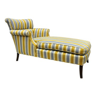 Vintage French Hollywood Regency Blue Gold Striped Channel Back Chaise Lounge Chair For Sale