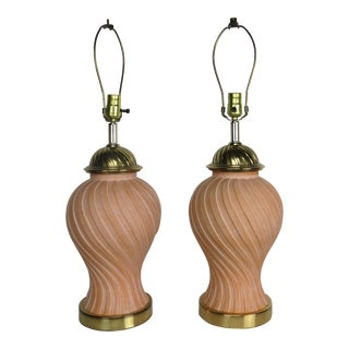 20th Century Italian Ginger Jar Shaped Terracotta and Brass Swirl Lamps - a Pair For Sale