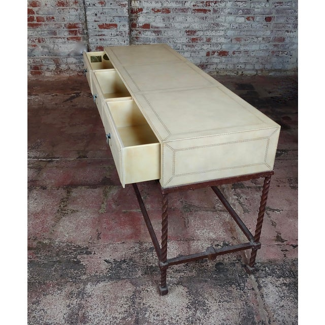 White Vintage Wrought Iron & Leather Top Sofa Table Console For Sale - Image 8 of 11