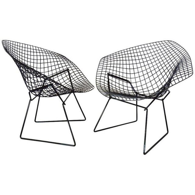Knoll Harry Bertoia for Knoll Gloss Black Diamond Chairs - a Pair For Sale - Image 4 of 4