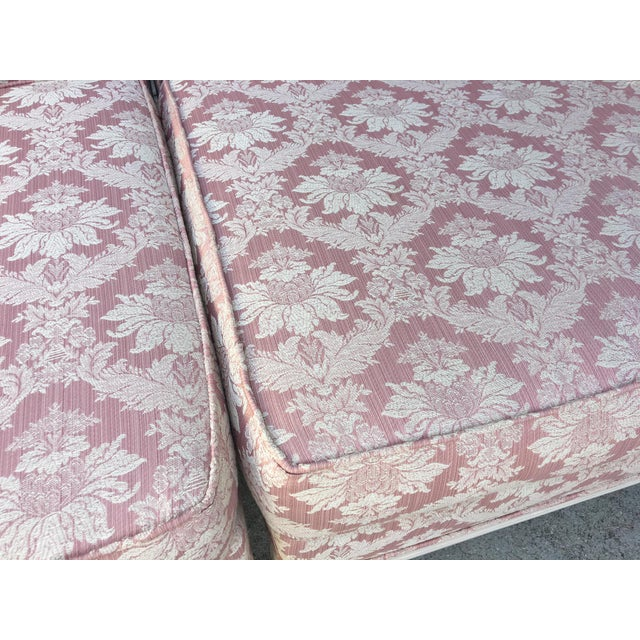 French Vintage 4-Piece Hollywood Regency Pink Damask Tufted Sectional Sofa For Sale - Image 3 of 8
