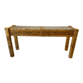 Vintage Rattan Glass Top Console Table For Sale