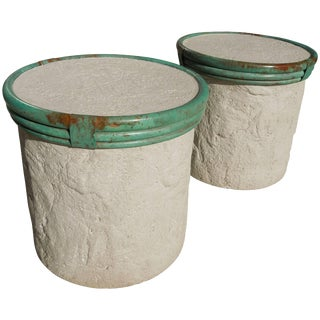 Pair of Plaster and Verdigris Metal Cylinder Side Tables by Steve Chase For Sale