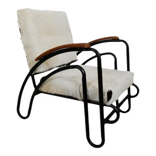 Deco Black & White Cowhide Chair For Sale