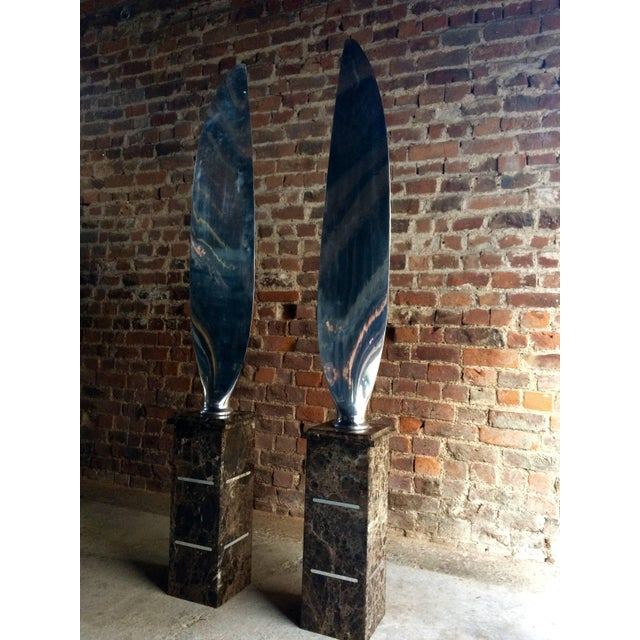 Tall Polished Chrome Airplane Propeller Blades Sculptures - A Pair For Sale - Image 10 of 11
