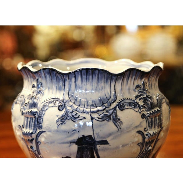 Late 19th Century Large 19th Century Dutch Hand-Painted Blue and White Ceramic Delft Cachepot For Sale - Image 5 of 10