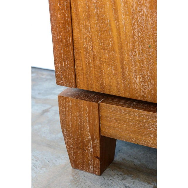 Animal Skin French Modern Cerused Oak and Leather Four-Door Credenza, Style of Jacques Adnet For Sale - Image 7 of 9