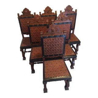 Spanish Renaissance Revival Chairs with Embossed Leather - Set of 6