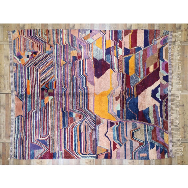 Textile Contemporary Berber Moroccan Postmodern Memphis Style Rug - 8′10″ × 12′11″ For Sale - Image 7 of 8