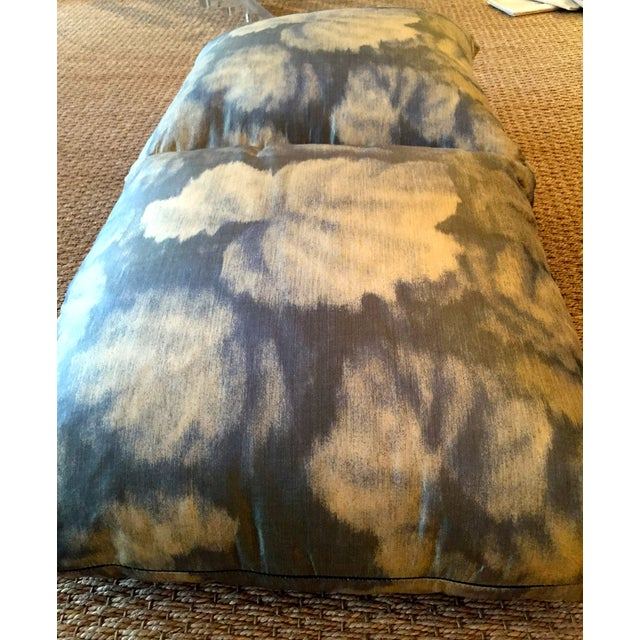 Contemporary Silk Blue and Green Floral Pillow - A Pair For Sale - Image 3 of 3