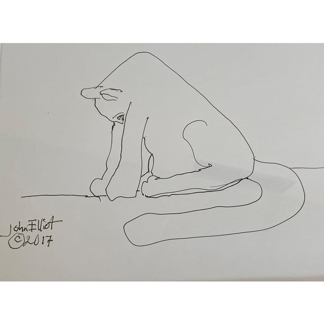 """Vintage Pen and Ink Drawing """"My Cat Stretching in the Morning"""" With Coa by Listed Artist John Elliot, Opa Size of frame is..."""