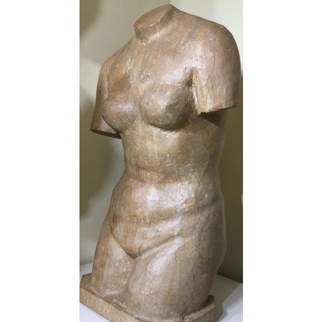 Vintage Marble Female Torso Statue For Sale - Image 9 of 11