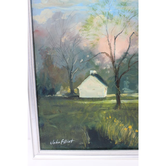 """Vintage Oil Painting """"Kentucky Homestead"""" With Coa by Listed Artist John Elliot, Opa. For Sale In West Palm - Image 6 of 12"""