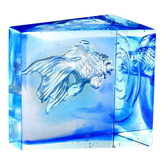 "Crystal Goldfish ""Swim Toward Freedom"" Figurine in Sky Blue Blue Clear For Sale"
