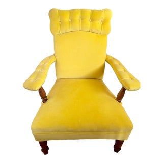 1950s Vintage Yellow Tufted Velvet Arm Chair For Sale