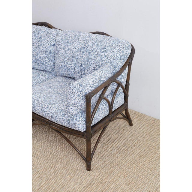 McGuire Blue and White Upholstered Bamboo Rattan Sofa For Sale In San Francisco - Image 6 of 12