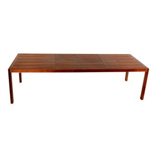 Mid Century Modern Walnut & Stainless Steel Parsons Dining Table For Sale