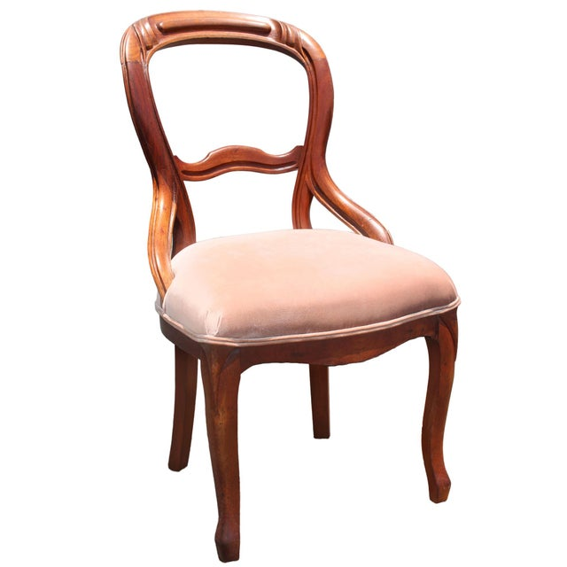 Late 19th Century Solid Mahogany Balloon Back Queen Anne Chair Newly Upholstered in Palest Pink Velvet For Sale - Image 5 of 5